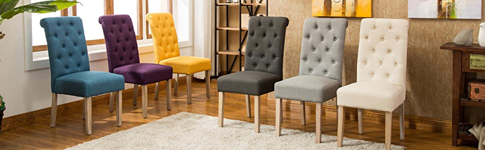 Roundhill Furniture Habit Solid Wood Tufted Parsons Dining Chair Set Collection