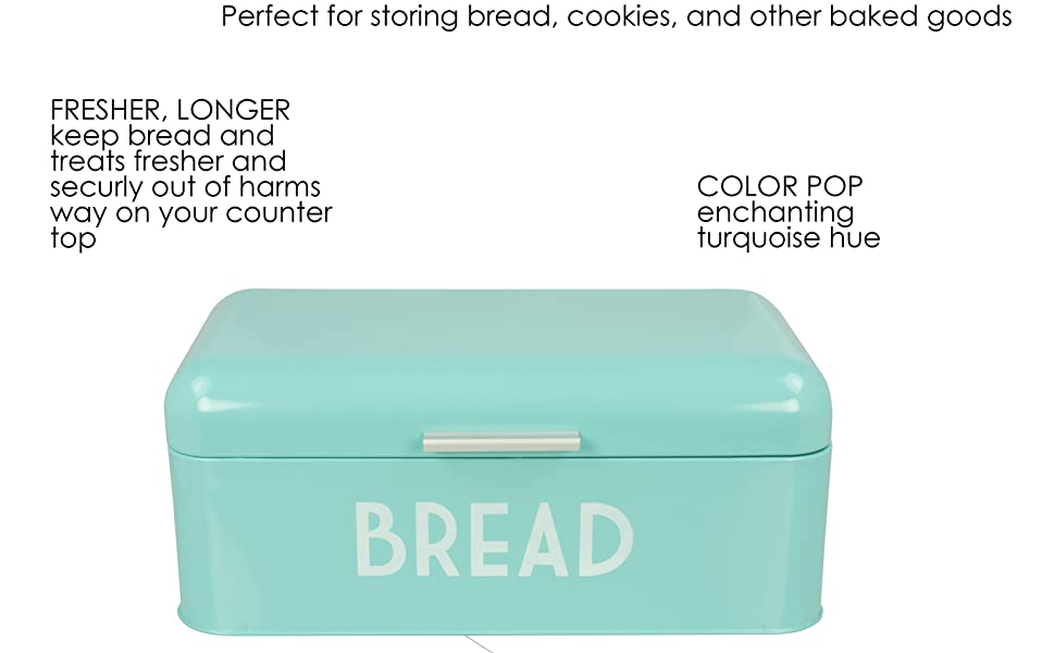 Amazon Com Home Basics Grove Bread Box For Kitchen Counter Dry Food Storage Container Bread Bin Store Bread Loaf Dinner Rolls Pastries Baked Goods More Retro Vintage Design Turquoise Kitchen Dining
