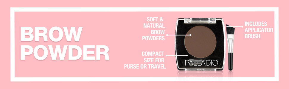 palladio brow powder soft natural compact travel size purse includes brush applicator