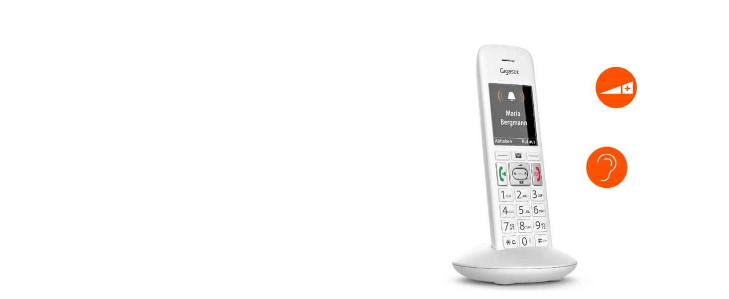 Gigaset E370 Schnurloses Telefon (für Senioren, mit großen Tasten und SOS Funktion, einfache Bedienung, extra großes Farbdisplay, einfache Bedienung)