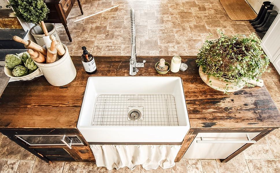 austen fireclay sink, kitchen sink, white sink, matte white sink, single bowl