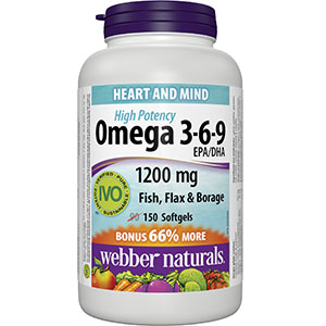 Webber Naturals Omega 3-6-9 Flaxseed, Fish and Borage Oil Softgel ...