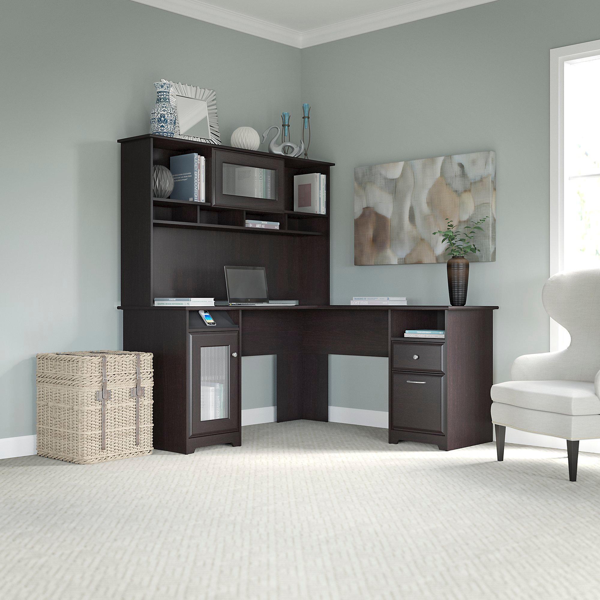 Amazon.com: Bush Furniture Cabot L Shaped Desk With Hutch