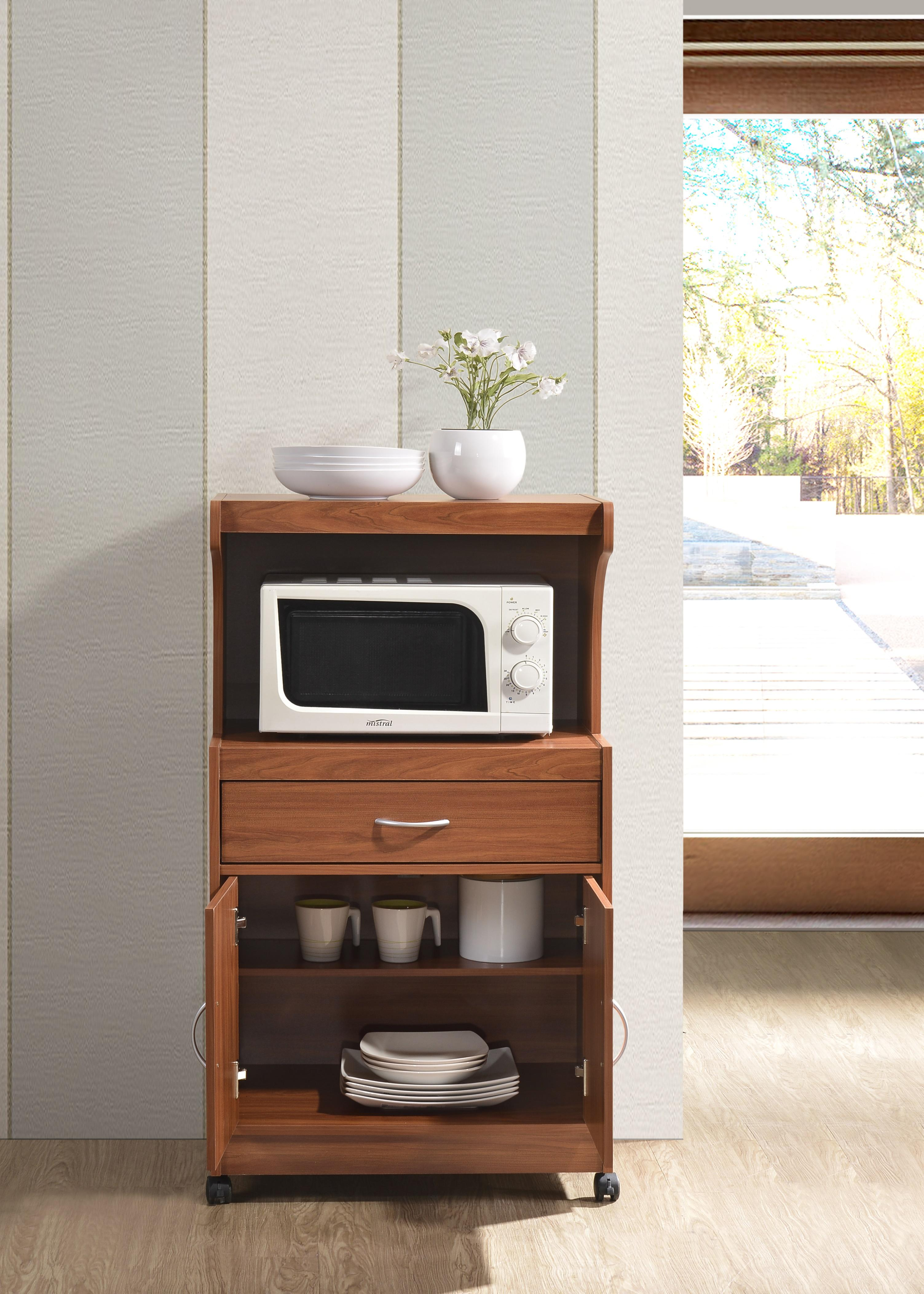hodedah hik72 cherry microwave cart with one drawer two doors and shelf for storage cherry. Black Bedroom Furniture Sets. Home Design Ideas