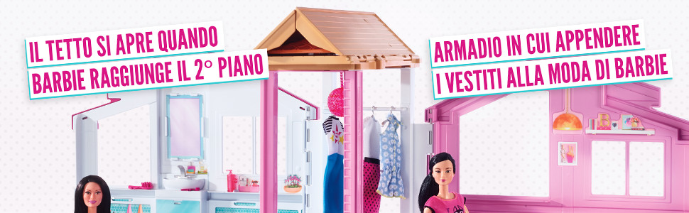 Barbie Casa di Malibu con 4 Stanze, Ascensore e Tanti Accessori, 18 x 41 x 74.5 cm