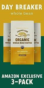 3-Pack Chameleon Organic Day Breaker Whole Bean Coffee