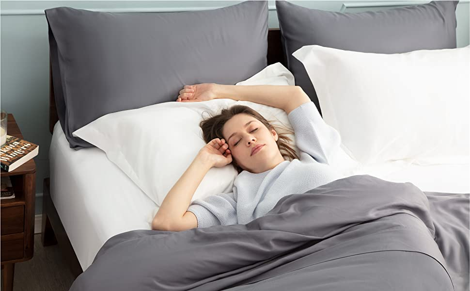 get cozy with the Bedsure Brushed Microfiber Pillow Shams Set of 2 - Super Soft and Cozy