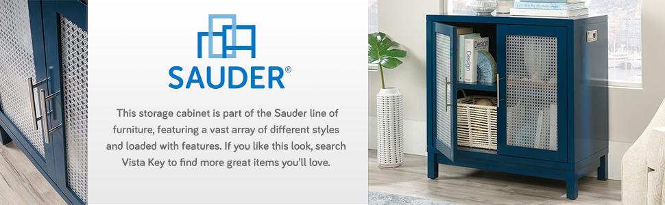 Sauder Vista Key Accent Storage Cabinet in a Navy Blue finish