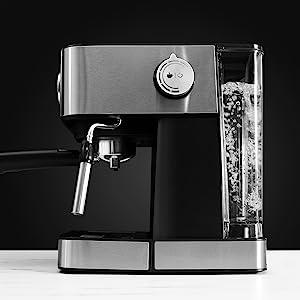Cecotec Cafetera Espresso Power Espresso Professionale. Presión 20 Bares, Manómetro, Depósito de 1,5l, Brazo Doble Salida, Vaporizador, Superficie ...