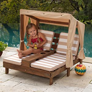Amazon Com Kidkraft Double Chaise Lounge With Cup Holders