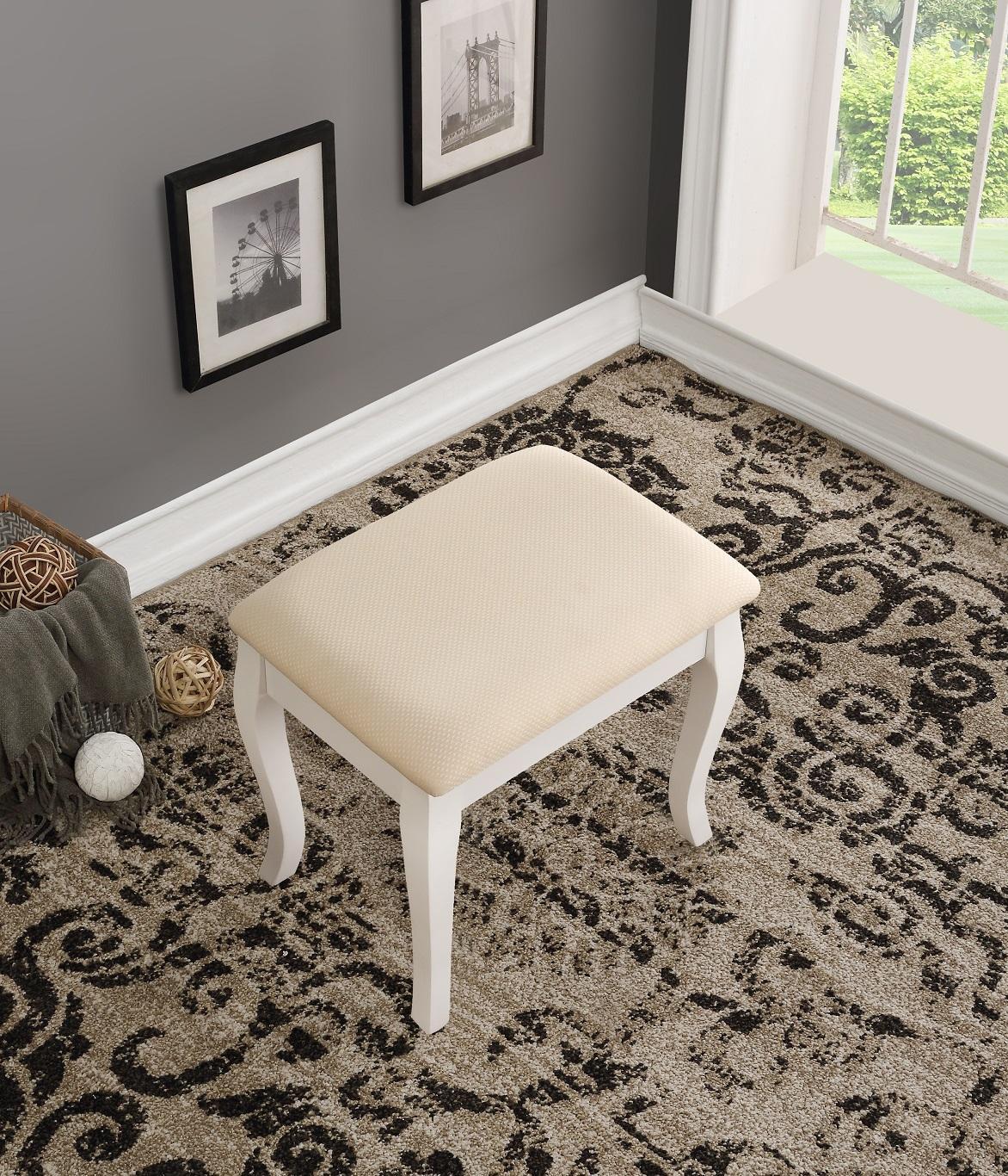 Roundhill Furniture Ashley Wood Make Up Vanity Table And Stool Set White Amazon Ca Home Amp Kitchen