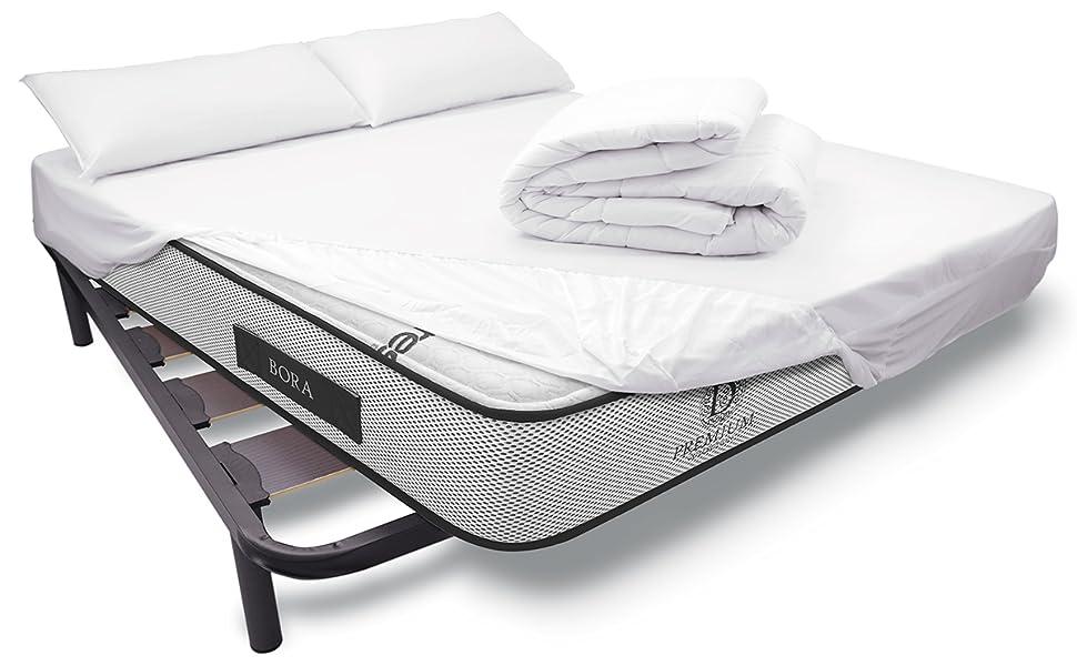 Duérmete Online - Pack Cama Completa Total con Colchón Premium Bora + Somier Reforzado + Sábana Protectora Ajustable Tencel + Relleno Nórdico + ...