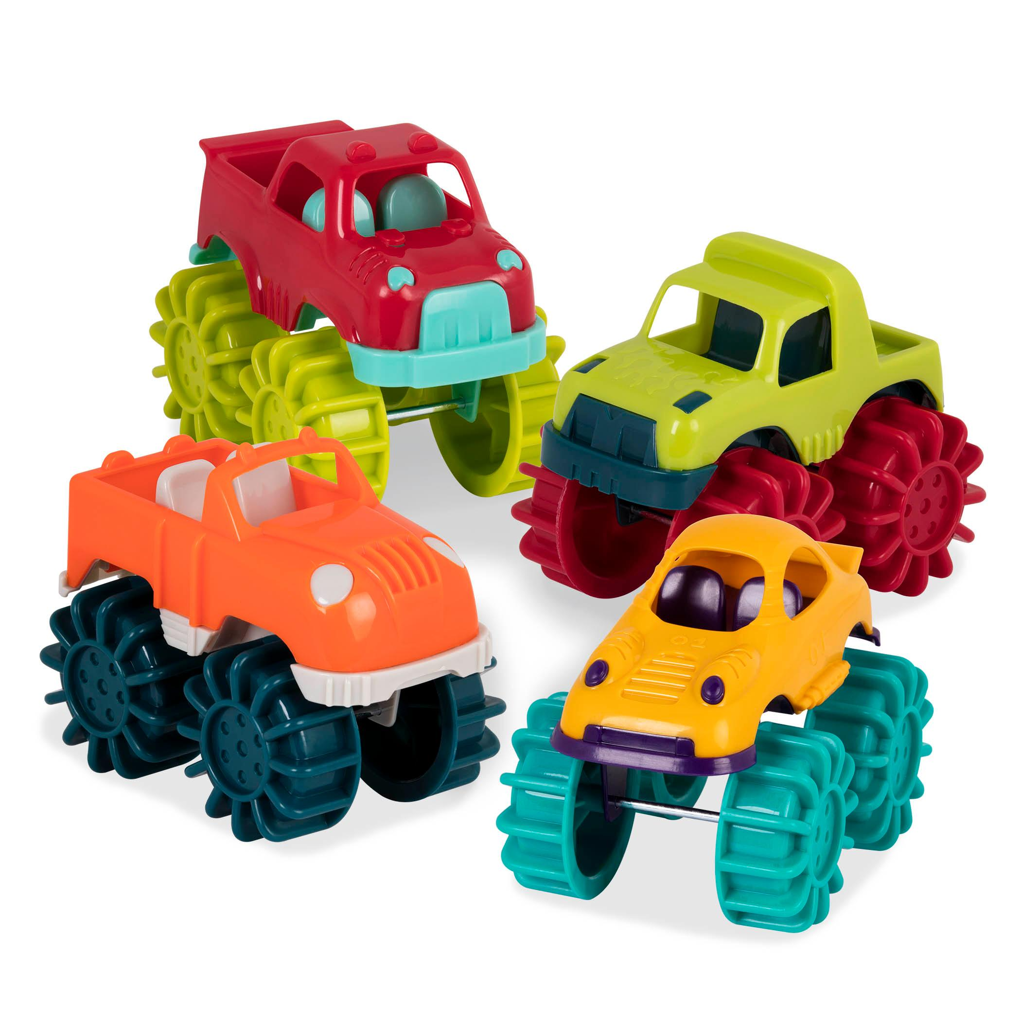 battat mini monster trucks set of 6 mini trucks for toddlers in storage bag for 2. Black Bedroom Furniture Sets. Home Design Ideas