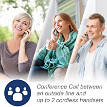 conference call between outside line and 2 handsets