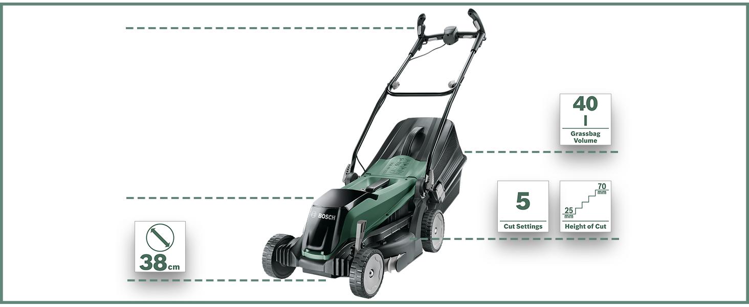 Bosch EasyRotak 36-550 Cortacésped sin Batería, 36 V, Ancho de Corte 38 cm, Céspedes de hasta 550 m2, en Caja, Color Negro/Verde: Amazon.es: Bricolaje y herramientas