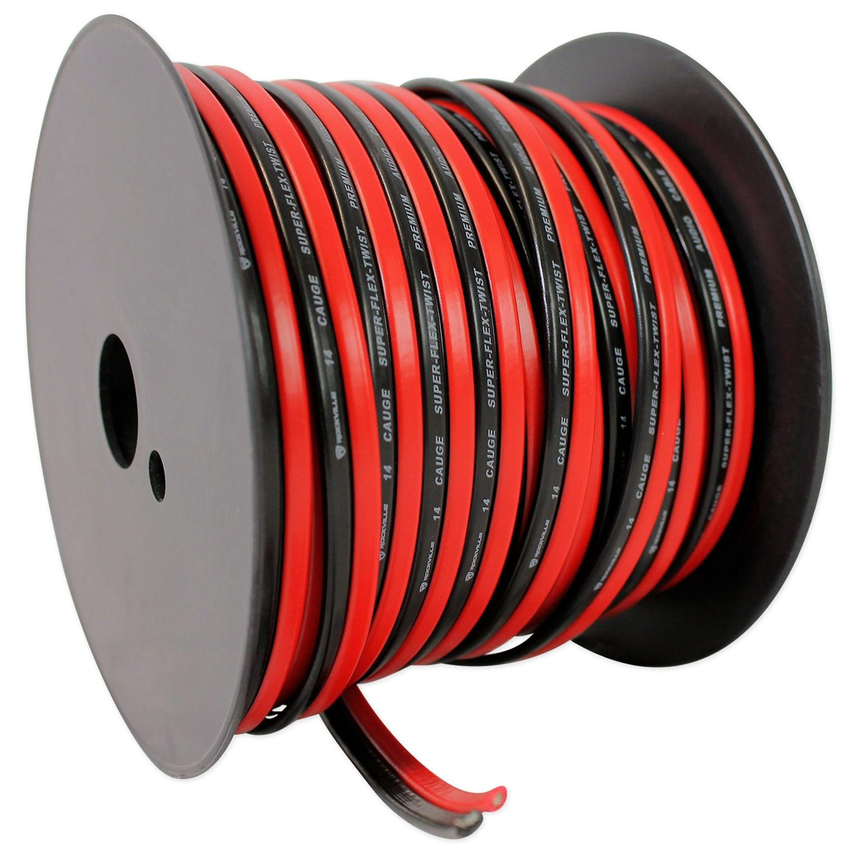 Rockville R14GSBR100 Red/Blk 14 Gauge 100' Ft  Mini Spool Car Audio Speaker  Wire