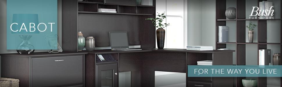 Amazoncom Cabot L Shaped Desk with Hutch in Espresso Oak