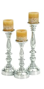 Deco 79 30919 Aluminum Candle Holders Set