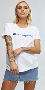 Champion script tee, women's script tee, champion t-shirt, champion tshirt, women's t-shirt