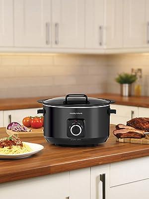 Morphy Richards 461020 6.5L slow cooker met scharnierend deksel, 163 W, zwart