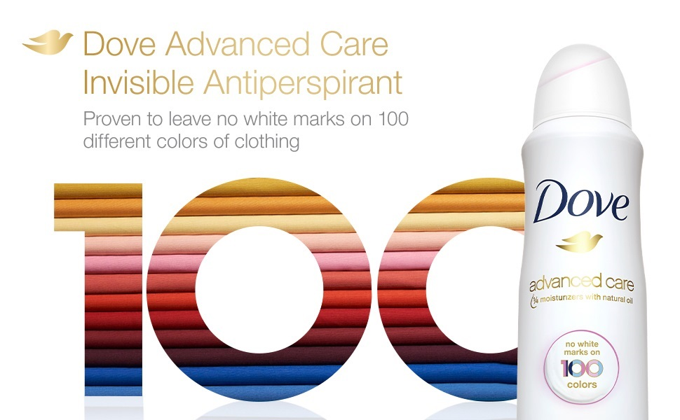 Dove clear finish invisible antiperspirant deodorant dry spray leaves no white marks on clothing