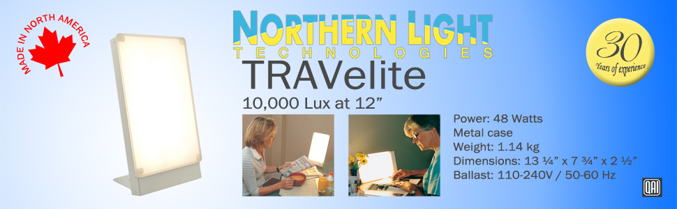 Northern Light Technologies TRAVelite 10000 Lux bright day light therapy happy lamp for energy sleep