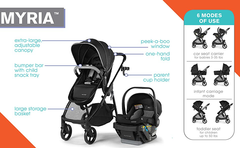 Summer Myria Modular Travel System with the Affirm 335 Rear-Facing Infant Car Seat