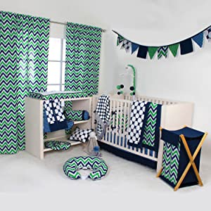 Bacati Navy/Green Zigzag/Dots Bedding Collection
