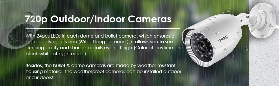 720p outdoor/indoor cameras