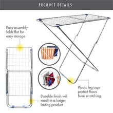 16 Metre '3-Fold Wing' Clothes Drying Airer Rack : Foldable and collapsible
