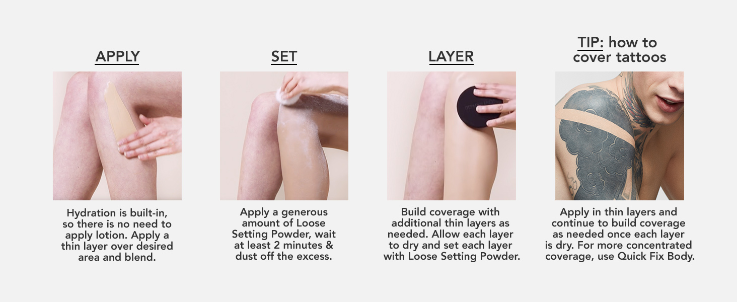 dermablend, leg and body makeup, hydrating lotion, shade, tattoo,