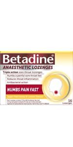 Anaesthetic: Betadine Anaesthetic Lozenges;  Honey & Lemon lozenges;
