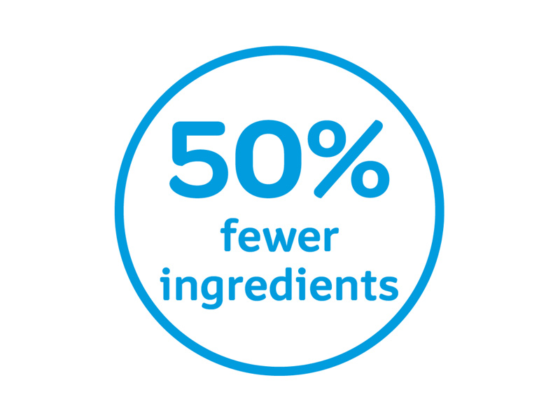 50% fewer ingredients icon