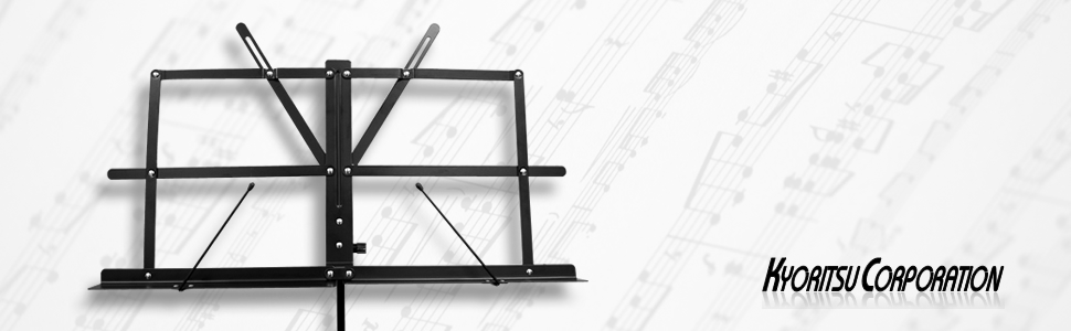 譜面台 譜面立て 楽譜台 楽譜立て 吹奏楽 ブラスバンド オーケストラ ライブ スタジオ MUSIC STAND 折り畳み 持ち運び ケース スチール キョーリツコーポレーション KYORITSU