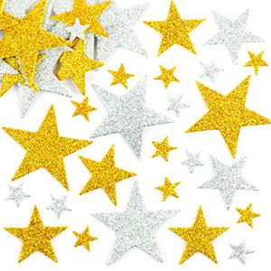 Gold amp; Silver Glitter Star Stickers