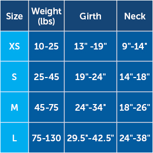 size chart sizing harness 3 in 1