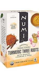 numi organic tea three roots tea bags