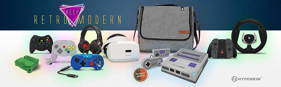 Hyperkin Video Game Retro Modern Accessory Bag Headphone Splitter Adapter Nintendo Switch
