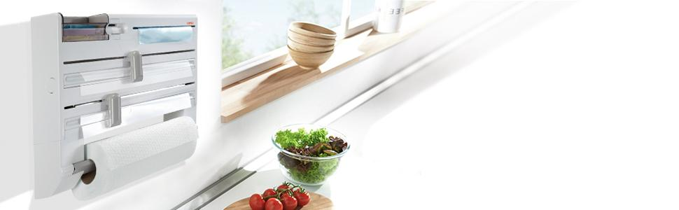 Kitchen Roll Holder Leifheit Parat wall mounted cuts cling film foil holds kitchen roll paper towels
