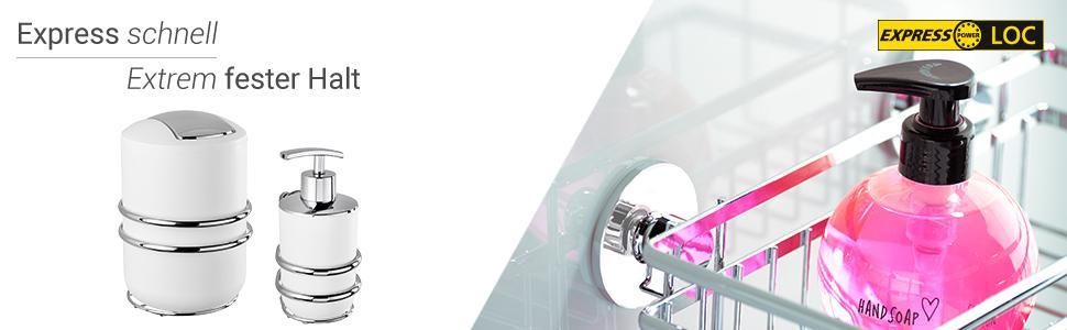 Duschabzieher 25 x 22,5 x 4,5 cm WENKO 23353100 Express-Loc Badezimmerwischer Cali gl/änzend