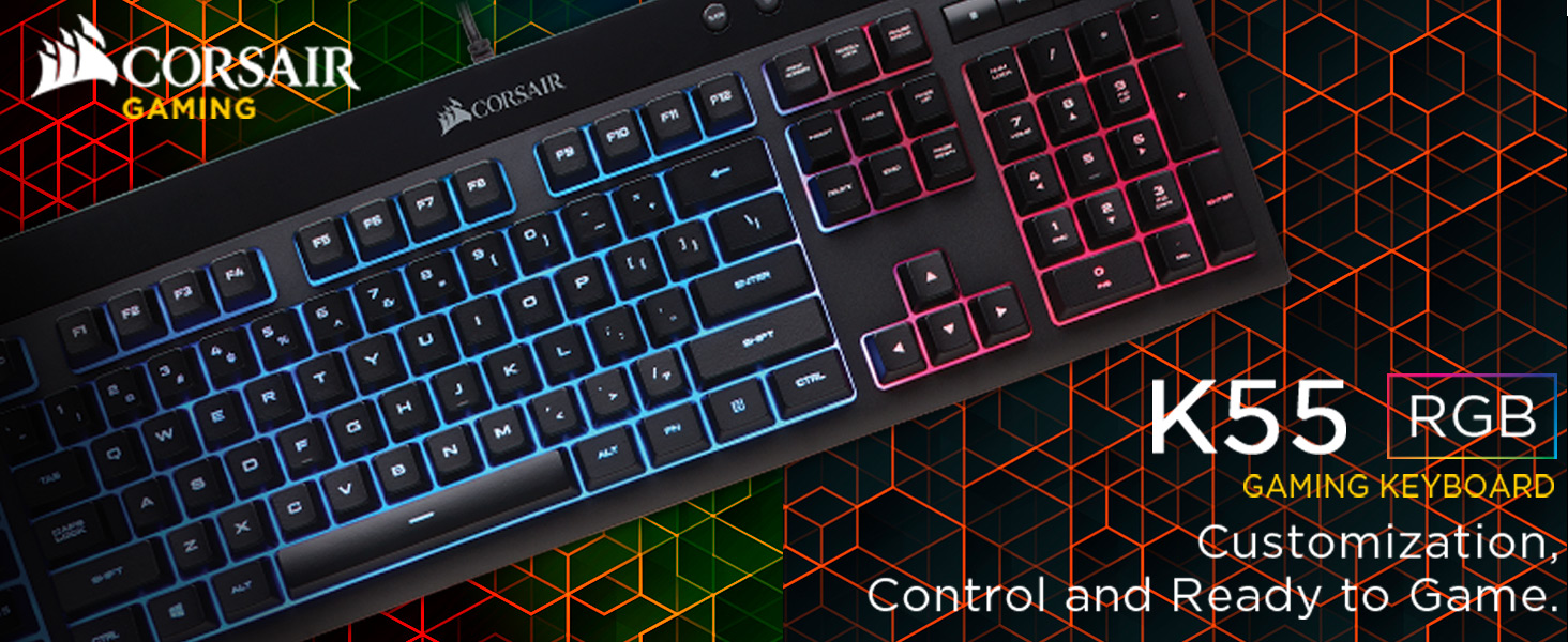 Corsair K55 RGB Membrane Gaming Keyboard - Black