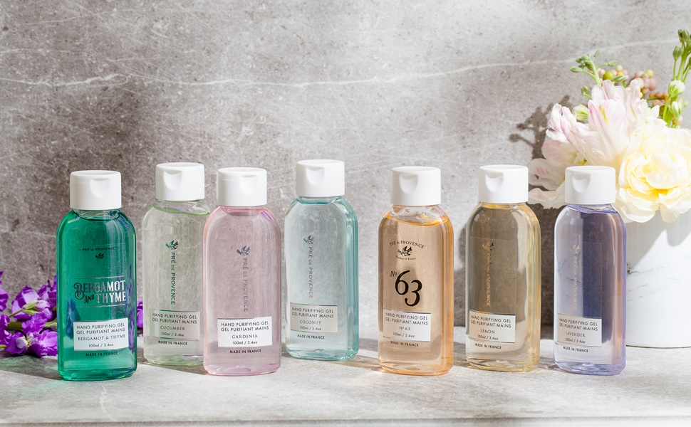 Pre de Provence Hand Purifying Gel in all 7 scents and colors displayed.