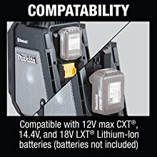 Compatability compatible 12v max CXT 14.4V 18V LXT lithium-ion batteries not included radio only
