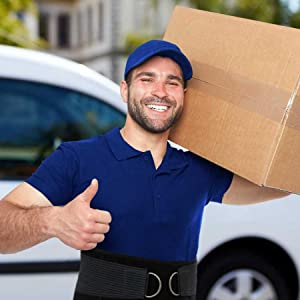Man wearing ComfyMed Lower Back Brace carrying Heavy Box when Moving House