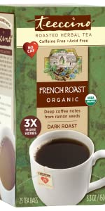 Teeccino French Roast Herbal Tea with the flavor of coffee and the convenience of steeping like tea