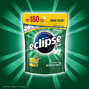 Package of Wrigley eclipse spearmint chewing gum, bulk bag