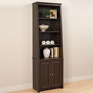Prepac ESBH-0002-1 Tall Slant-Back Bookcase with 2 Shaker Doors, Espresso