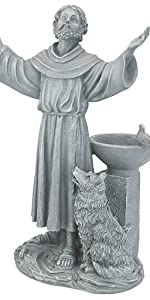 Bénédiction de Saint François Statue Décorative de Jardin Religieux avec Mangeoire pour Oiseaux