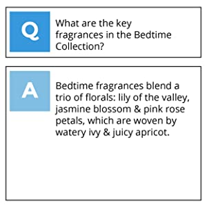What are the key fragrances in the bedtime collection?