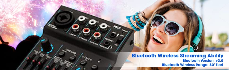3 channel bluetooth audio mixer dj sound controller interface with usb soundcard. Black Bedroom Furniture Sets. Home Design Ideas